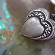 Art Nouveau Repousse  Sterling Silver Puffy Heart Charm