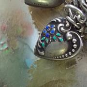 Victorian Sterling Silver Enamel Flowers Puffy Heart Charm