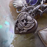 Vintage Sterling Silver Repousse Eagle Puffy Heart Charm.