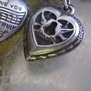 Antique Sterling Silver Rebus Enamel Locked Forever Yours  Lovebirds  Puffy Heart Charm