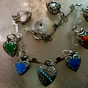 Art Nouveau Sterling Silver Enamel Mini Puffy Hearts and Key Charm Bracelet