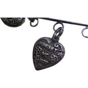 Vintage Sterling Silver Puffy Heart Forget Me Not Charm