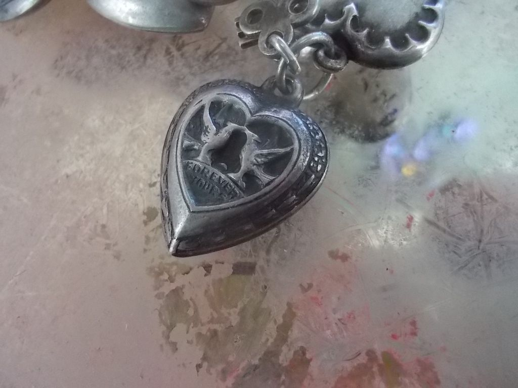 "Vintage Sterling Silver ""Forever Yours""  Puffy Heart Charm"