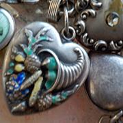 Vintage Sterling Silver Enamel Large Size Repousse Cornucopia Puffy Heart Charm