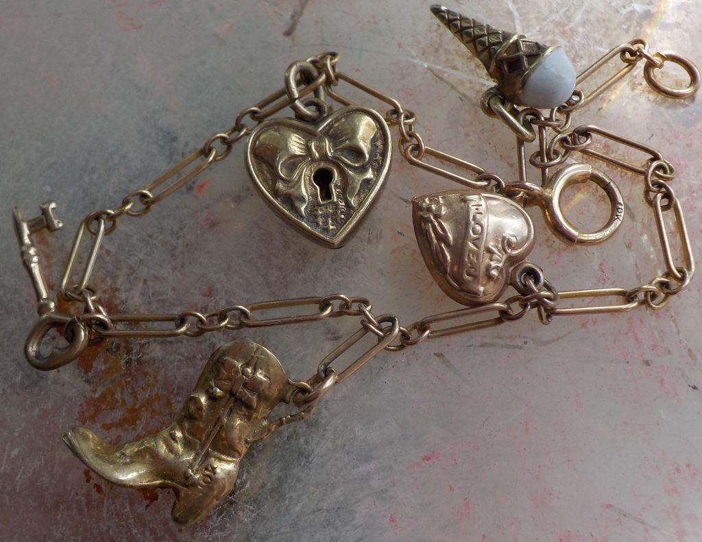 Vintage Rare Walter Lampl 10K Enamel Puffy Heart Padlock Heart Charm Bracelet