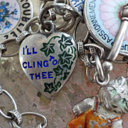 "Rare Victorian Sterling Silver Enamel  ""I'll Cling To Thee"" Puffy Heart Charm"