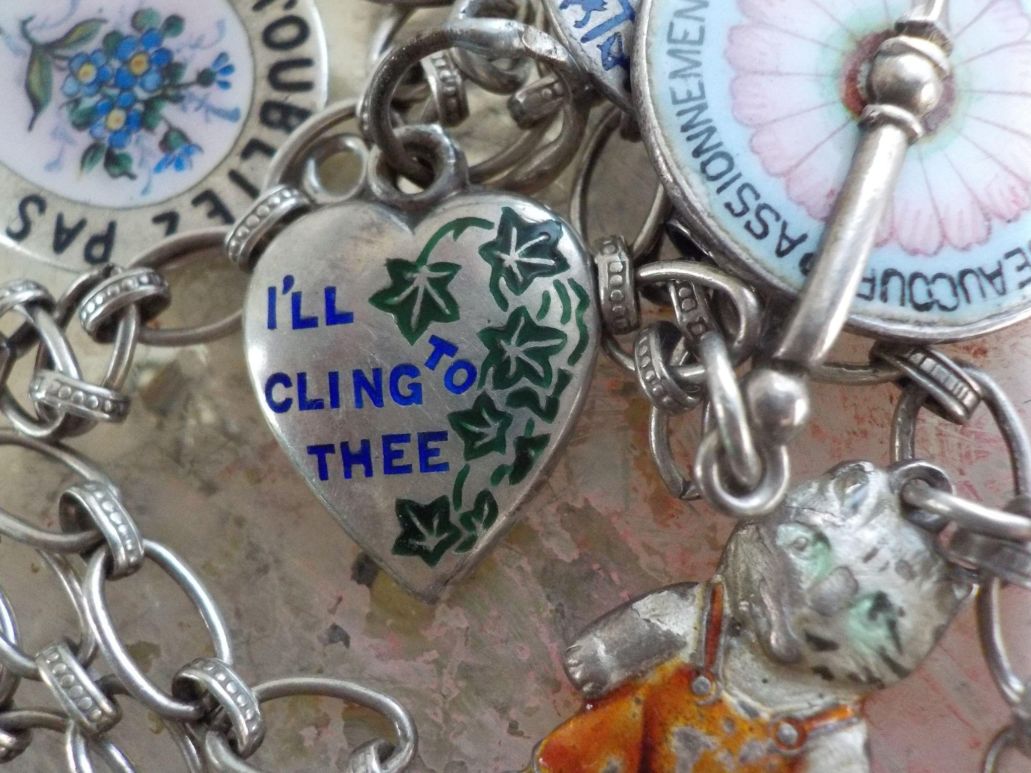"""Rare Victorian Sterling Silver Enamel  """"I'll Cling To Thee"""" Puffy Heart Charm"""
