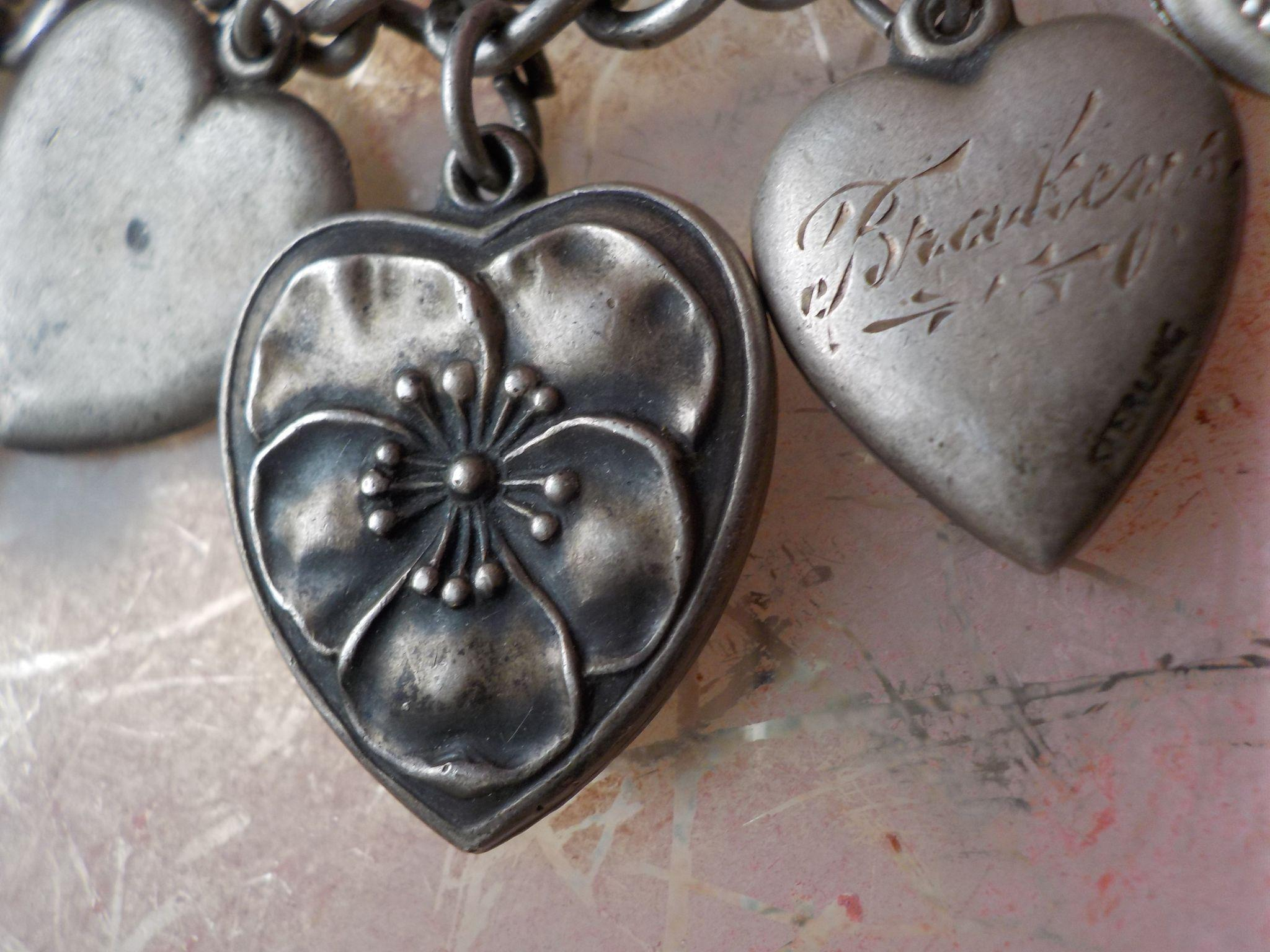 Rare Vintage Large Size Pansy Dolores Sterling Silver Puffy Heart Charm
