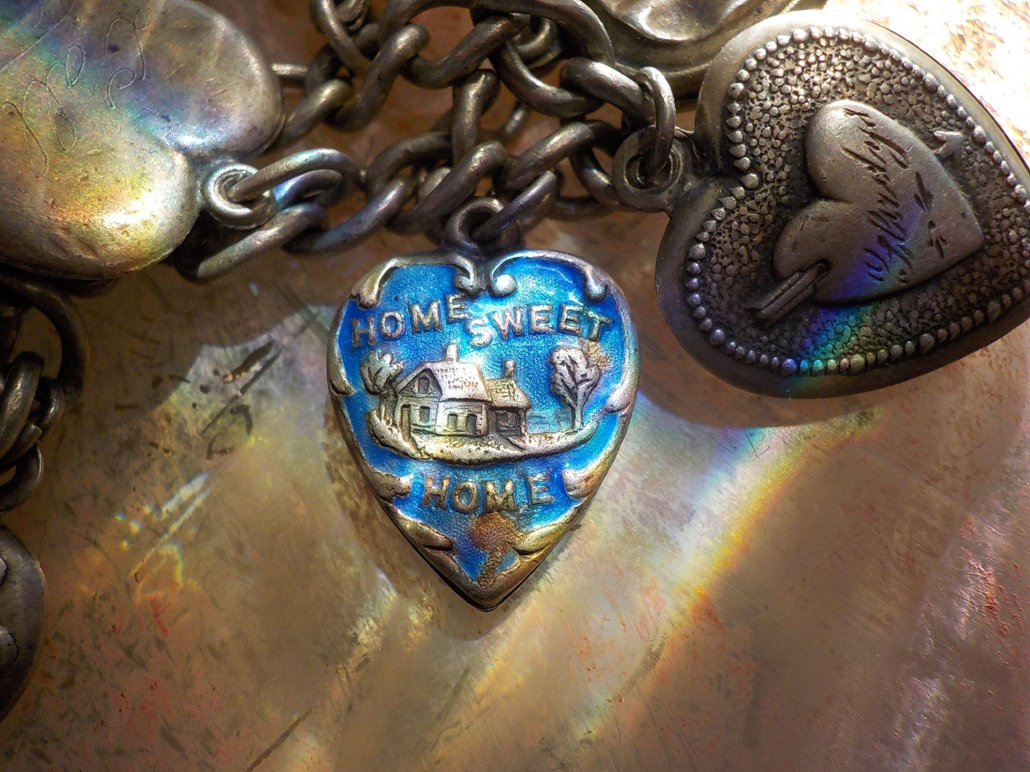 Vintage Sterling Silver Enamel Frankey Home Sweet Home Puffy Heart Charm