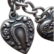 Vintage Sterling Silver Lucky Kathryn Horseshoe Puffy Heart Charm