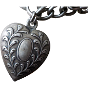 Art Nouveau Repousse  Sterling Silver Puffy Heart Charm 1 Engraved JD
