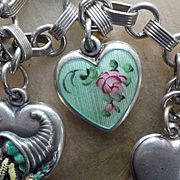 Vintage Walter Lampl Sterling Guilloche AM Enamel  Puffy Heart Charm