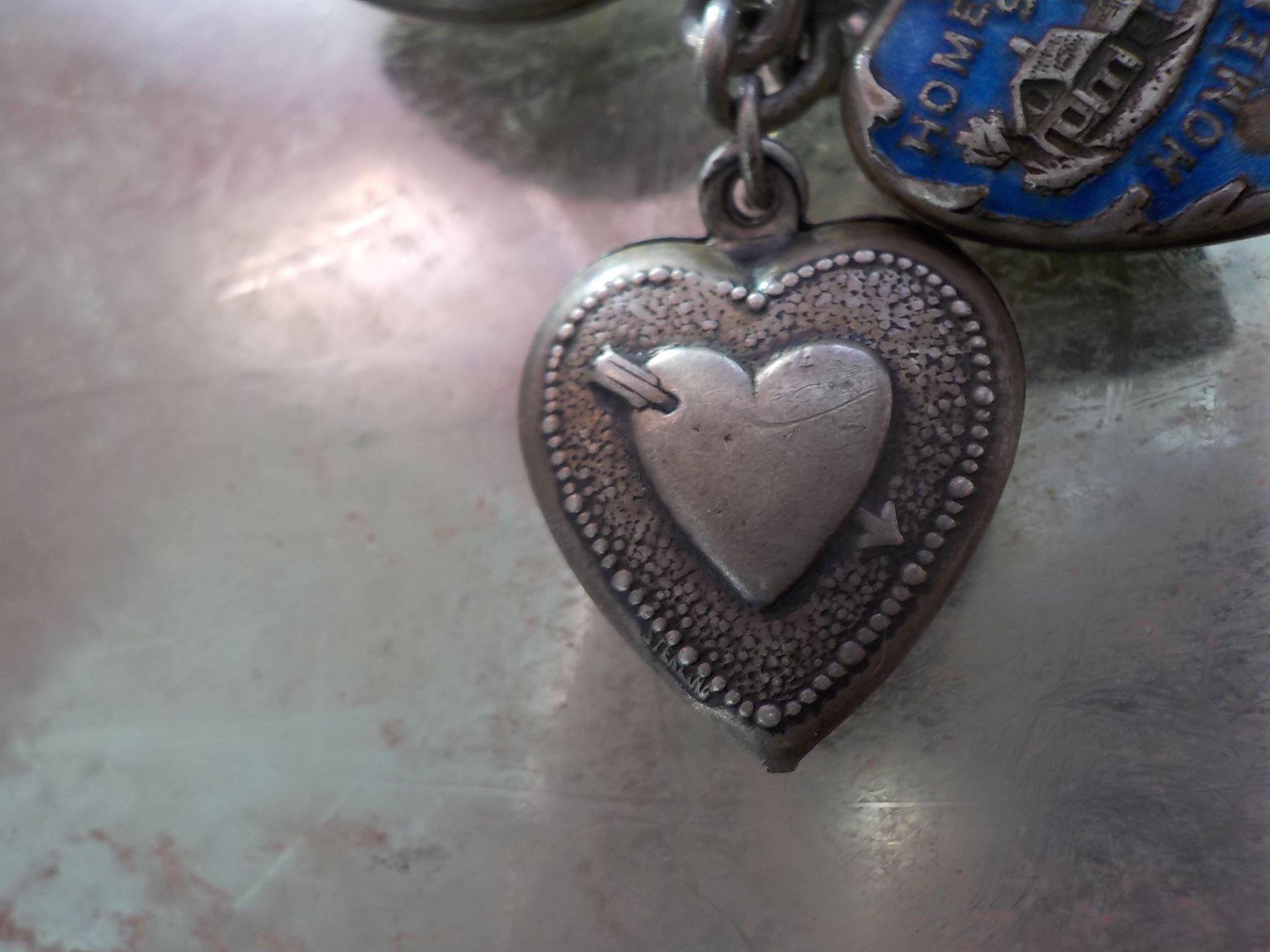 Antique Sterling Silver Repousse Heart and Arrow Double Sided Gladys Puffy Heart Charm