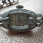 Antique Diamond 14K White Gold Hamilton Baguette 2Cts. Baguettes Watch