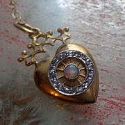 Victorian Diamond Opal 18K Crown Love Puffy Heart Charm Pendant