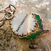 Antique French Silver Enamel Passionnement Flower  Charm