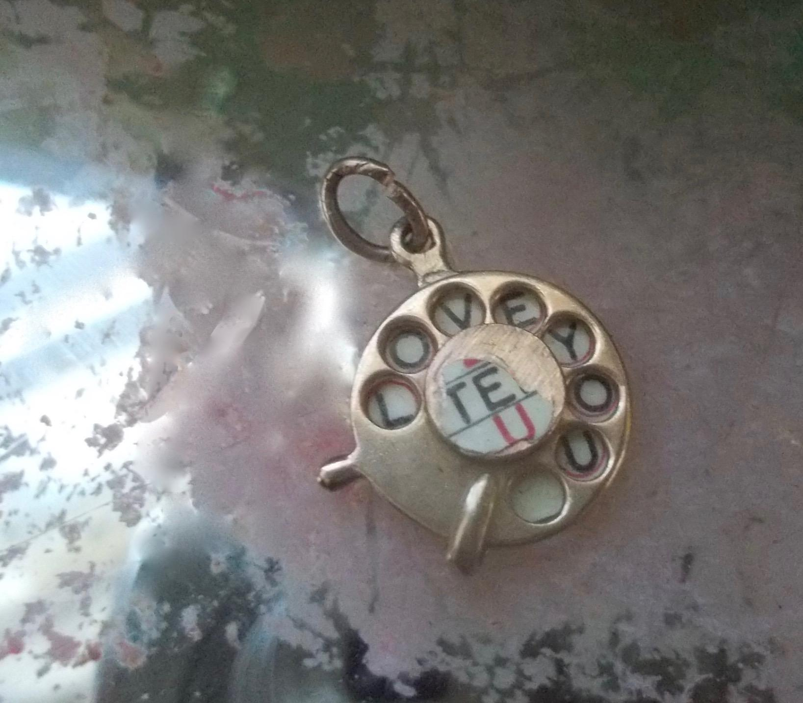 Antique 9 CT. Gold Enamel I Love You Telephone Dial Wheel Charm