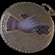 Victorian 12K Gold Diamond Enamel  Horn Button Pendant Charm