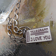 "Antique Silver Enamel ""I Love You""  Telegramm Charm"