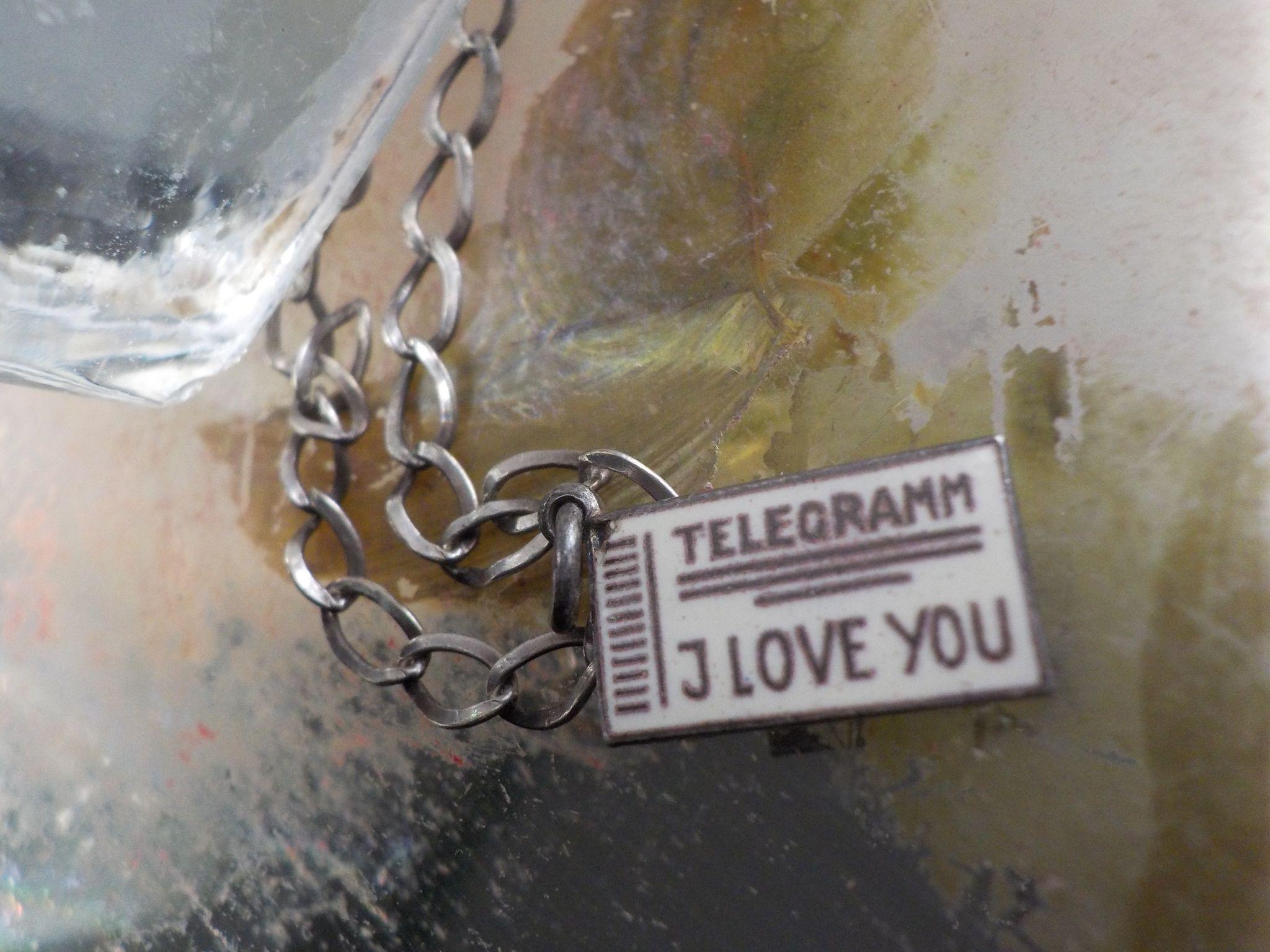"Antique Silver Enamel ""I Love You""  Telegramm Charm"