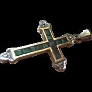 Vintage Emerald Diamond 9ct. Gold Cross Pendant