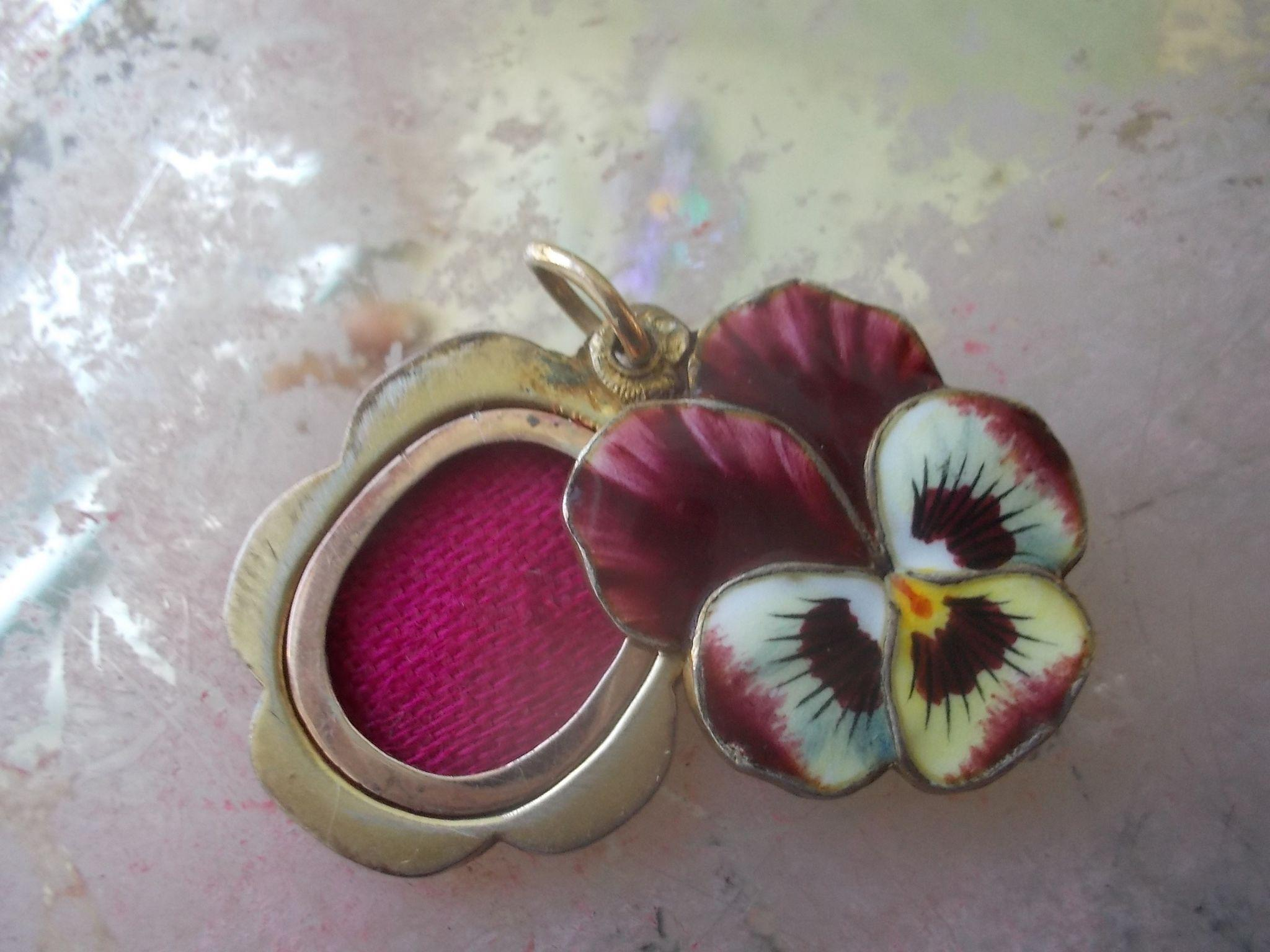 Antique French Silver Enamel Pansy Slide Charm
