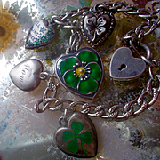 "Vintage Sterling Enamel Walter Lampl Lucky Mom Mother Large Size Pansy THINK OF ME & ""Cling to Thee"" Ivy Charm Bracelet"