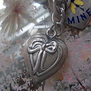 Vintage Sterling Silver Bow Puffy Heart Charm