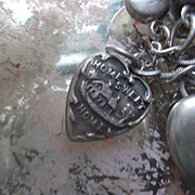 Vintage Sterling Silver Carolyn HOME SWEET HOME Repousse Puffy Heart Charm