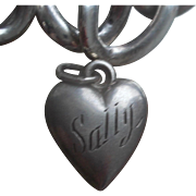 Vintage Sterling Silver Sally Puffy Heart Charm