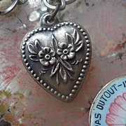 Vintage Sterling Silver Double Flower Puffy Heart Charm