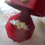 Estate Platinum 1 CT. Canary Heart Shaped Diamond Three Stone Ring