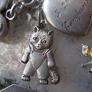 Antique  Silver Enamel Pansy Slide Charm