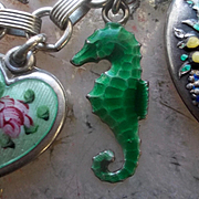 Antique Sterling Silver Enamel Seahorse Charm