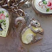 Antique Silver Enamel  Squirrel Charm