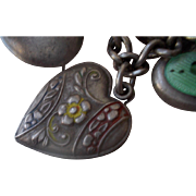 Vintage Sterling Silver Miami Enamel Flower Puffy Heart Charm