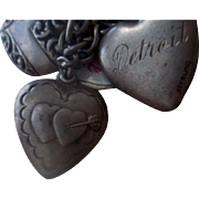 Vintage Sterling Silver Bob Double Heart and Arrow Puffy Heart Charm