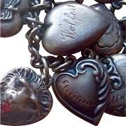 Vintage Sterling Silver Georgia  Puffy Heart Charm