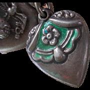 Vintage Sterling Silver Pet  Enamel Ruffle Garter Puffy Heart Charm