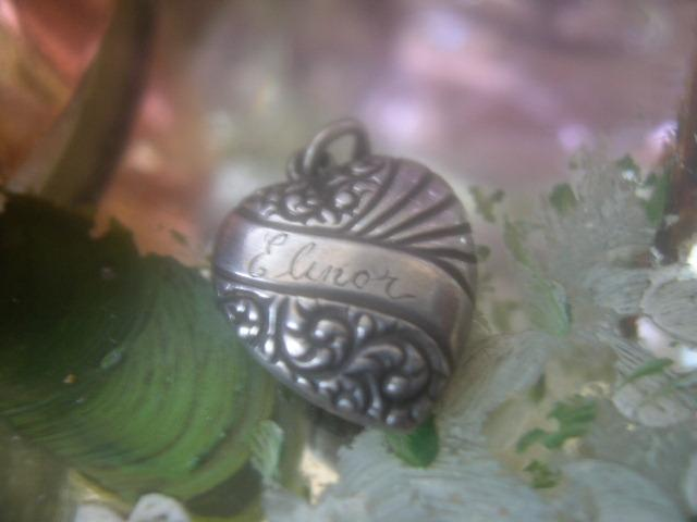 Vintage sterling silver banner Elinor puffy heart charm
