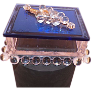 Vintage Art Deco Cobalt Blue Trinket Vanity Box With Clear Glass Grapes - Red Tag Sale Item