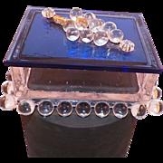 Vintage Art Deco Cobalt Blue Trinket Vanity Box With Clear Glass Grapes - Red Tag Sale Item