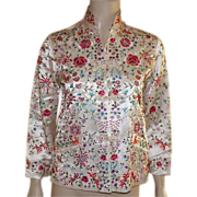Vintage Cream Silk Chinese Jacket With Colorful Embroidery
