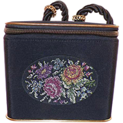 Vintage Black Box Purse with Petit Point Embroidery Germany