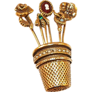 Unsigned Goldette Thimble and Stickpin Flower Basket Brooch