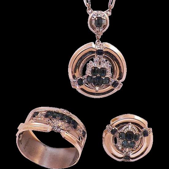 1940's McClelland Barclay Rhinestone Parure Necklace Bracelet Brooch