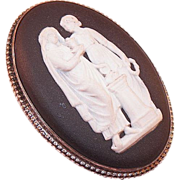 Vintage Wedgwood Black Jasperware Grecian Figures Pin/Brooch In Original Box