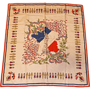 Vintage Scarf With World War II France Motif