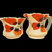 Art Deco Burleigh Ware Creamer and Sugar Black Orange Flowers