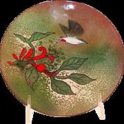 Vintage Norman Brumm Enamel On Copper Plate Hummingbird